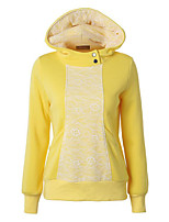 Women's Casual/Daily Street chic Regular HoodiesPatchwork Hooded Long Sleeve Cotton Spring / Fall