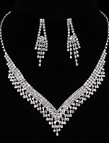 Silver Full-Crystal Rhinestone Tissue Necklace Earrings Jewelry Set for Lady Women Wedding Party