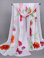 Women's Chiffon Flowers Print Scarf Red/Orange/Pink/Beige/Blue
