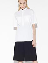 Women's Going out Simple Summer ShirtSolid Shirt Collar  Length Sleeve White Cotton / Bamboo Fiber Medium