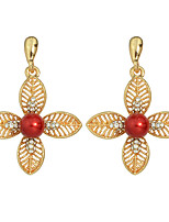 Earring Flower Drop Earrings Jewelry Women Fashion / Bohemia Style Party / Daily / Casual Alloy / Feather 1 pair Gold KAYSHINE