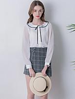 Linjou Women's Plaid Gray SkirtsVintage Above Knee