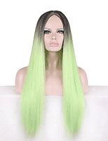 Europe And The United States Wig Green Gradient Of 28 Inch Long Straight Hair Wig Cosplay Role Playing