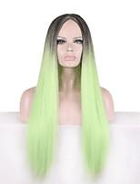 Европа и Соединенные Штаты парик зеленый градиент 28 дюймов длинные прямые волосы парик косплей ролевые игры