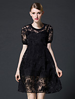 FRMZ Women's Going out Sexy Lace DressSolid Round Neck Above Knee Short Sleeve Summer Mid Rise Inelastic
