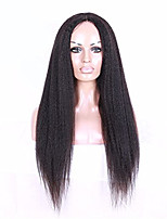 Coarse Italian Yaki Lace Wig Brazilian Virgin Natural Color Kinky Straight Lace Front Human Hair Wigs For Black Women