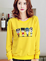 Women's Casual/Daily Simple Regular HoodiesPrint Red / White / Gray / Yellow Round Neck Long Sleeve
