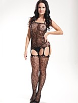Women Sexy Lingerie Temptation Serpentine Printing  Mesh Design Vulnerabilities Conjoined  Stockings