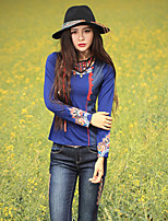 Our Story Going out Chinoiserie Spring / Fall T-shirtEmbroidered Round Neck Long Sleeve Blue Cotton