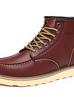 Черный / Хаки / Бордовый-Мужской-Для прогулок-Кожа-На плоской подошве-Военные ботинки-Ботинки