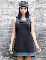 Our Story Women's Going out Vintage Loose DressPrint Round Neck Above Knee Sleeveless Black Polyester Summer