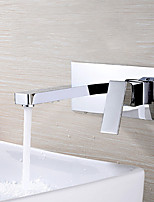 Contemporary Wall Mounted Widespread with  Ceramic Valve Single Handle Chrome Brass Bathroom Sink Faucet