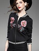 Kenaya Women's Casual/Daily Chinoiserie Fall JacketsEmbroidered Round Neck Long Sleeve Black Cotton Medium
