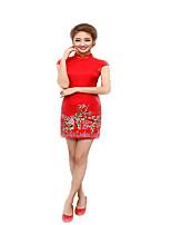 One-Piece Short Sleeve Medium Length Red Lolita Dress Cotton cheongsam