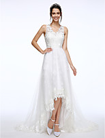 Lanting Bride® A-line Wedding Dress Court Train V-neck Lace / Tulle with Appliques