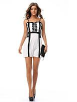 Damen Bodycon / Hülle Kleid-Ausgehen / Arbeit / Party/Cocktail Sexy / Einfach / Street Schick Einfarbig Trägerlos Mini Ärmellos Weiß