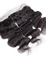 10inch to 20inch Noir 4x13 Fermeture Ondulation naturelle Cheveux humains Fermeture Marron clair Dentelle Suisse about 50g gramme Moyenne