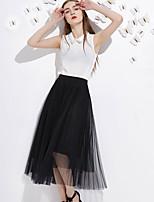 J&D  Women's Solid Black / Gray SkirtsSimple Midi