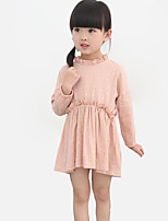 Girl's Going out Floral DressCotton Spring / Fall Pink / Gray