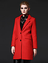 FRMZ  Women's Going out Simple CoatSolid Notch Lapel Long Sleeve Fall / Winter Red Wool / Polyester Medium