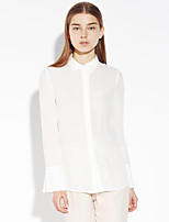 C+IMPRESS Women's Going out Sophisticated Spring / Fall ShirtSolid Shirt Collar Long Sleeve White Silk Medium
