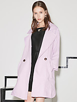 I'HAPPY Women's Casual/Daily Simple Trench CoatSolid Peaked Lapel Long Sleeve Spring / Fall