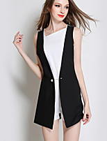 Women's Patchwork Black JumpsuitsSimple Asymmetrical Sleeveless
