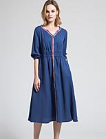 BORME Women's V Neck 1/2 Length Sleeve Tea-length Dress-Y029
