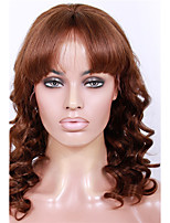 20-24inch New Big Curl with Bang Brazilian virgin remy human hair glueless lace front wigs for African Americans