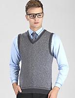 Men's Plaid Casual / Work / Plus Size VestWool / Cotton Sleeveless Black / Gray