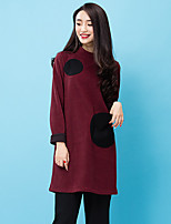 ROOM404  Women's Casual/Daily Simple Loose DressColor Block Turtleneck Above Knee Long Sleeve