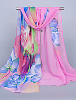 Women's Chiffon Flowers Print Scarf Blue/Orange/Fuchsia/Royal Blue/Pink