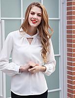 AJIDUO® Damen Rundhalsausschnitt Lange Ärmel Shirt & Bluse Weiß / Rosa-A9286