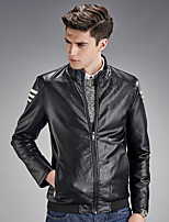 Men's Long Sleeve Casual / Sport JacketPU / Polyester Solid Black / Blue