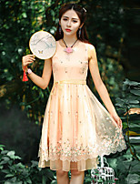 Our Story Going out Vintage Sheath DressEmbroidered Round Neck Above Knee Sleeveless Yellow Polyester Summer