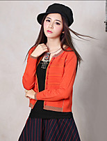 Our Story Women's Going out Vintage Regular CardiganPrint Orange Round Neck Long Sleeve Cotton / Polyester Spring