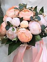 Bouquets de Noiva Redondo Peônias Buquês Casamento Festa / noite Cetim 8.66