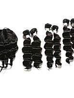 7 Pieces/Lot Deep Wave Hair Human Hair Weaves With Closure Color 1b Natural Black (12inch14inch16inch)