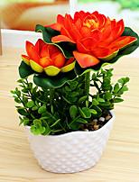 Set of 1 PCS 1 Филиал Полиэстер лотос Букеты на стол Искусственные Цветы 6