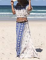 Women's Beach Boho Summer Blouse SkirtPrint Strap  Length Sleeve Blue Polyester Opaque
