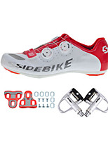 Cycling Shoes Unisex Outdoor / Road Bike 002 Sneakers Damping / Cushioning White / Red-sidebike And Silver Lock Pedals