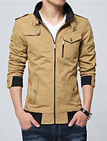 Men's Long Sleeve Casual / Work Jacket Coat Cotton / Polyester Fashion Solid Regular Outerwear