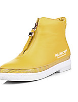 Желтый / Красный / Белый-Унисекс-На каждый день-Дерматин-На плоской подошве-На плокой подошве-Кеды