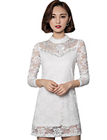 Fall Spring Women's Plus Size Go out Casual Fashion Solid Color Round Neck Long Sleeve Lace Dress