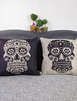 Set Of 2 Black & White Skull  Linen Decorative Throw Pillow Case Cushion Cover
