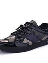 Men's Flats Spring / Fall Comfort Microfibre Outdoor / Casual Flat Heel Lace-up Black / Gray Walking