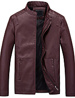 Men's Long Sleeve Casual JacketPU Solid Black / Brown / Red