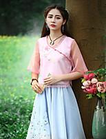 Tee-shirt Aux femmes,Broderie Sortie Chinoiserie Eté Manches Courtes Coeur Rose Nylon Moyen