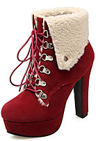 Women's Shoes Chunky Heel Round Toe Platform Lace Up Ankle Bootie More Color Available