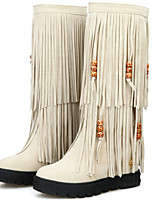 Women's Boots Spring / Fall / Winter Fashion Boots Leatherette/ Casual Flat Heel Tassel Black / Brown / Red / Beige